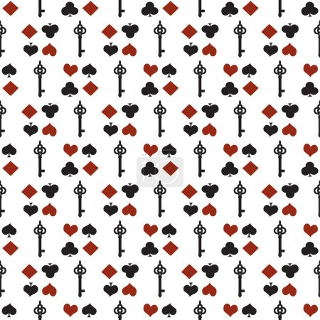 Seamless background with suits. Poker or casino seamless pattern - vector white background with red and black playing card suits and keys. Alice in Wonderland