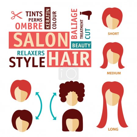 Icons set in flat design style with hair treatment, steps to prevent hair falling. hair salon icon