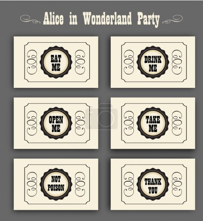 Alice in Wonderland vector set with labels Eat me, Drink me, Open me, Not poison, Thank you. ideal for decoration at a wedding Banquet or a birthday