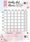 Weekly diet planner Vector printable page for female notebook journals or brochure daily meal planner