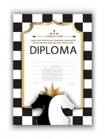 vector template certificate of the winner of the chess tournament. diploma of participation in a chess competition for printing. Chess vector