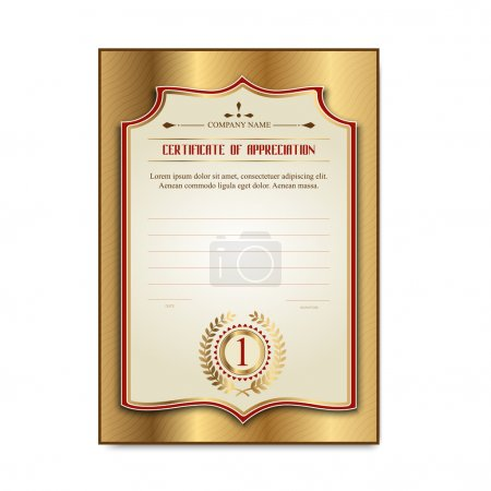 template gold certificates with the medal Laurel leaves for the first place.