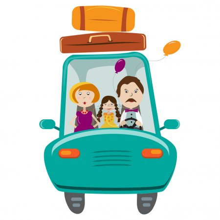 Happy family with daughter travelling by car.