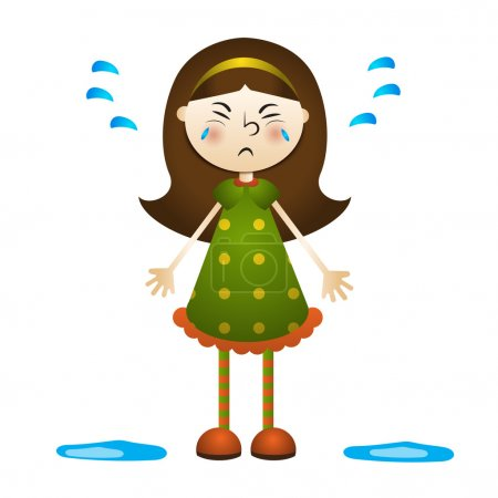 Cartoon illustration of a little girl crying.