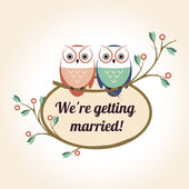 retro badge with the couple wedding cute owls