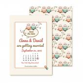 retro invitations with the couple wedding cute owls