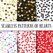 Vector set of seamless patterns with hearts Perfect for Valentines day weddings or romantic gifts Set different colors: gold pink black red and colorful for any occasion