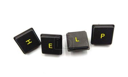 palabra ayuda con tecla keybord sobre fondo blanco