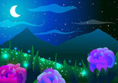 Vector illustration Spring landscape Roses butterflies and mountains at night