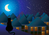 The cat sits on the roof and watching the city at night and the moon