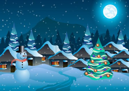 Vector illustration. Village, snowman and christmas tree in the snow against the backdrop of forests and mountains.