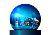 Vektorové ilustrace. Vánoční dům pod skleněnou kouli na bílém pozadí