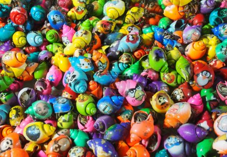 Coloured shells with Angry Birds faces