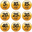 A series of badges representing a shopping sale di...