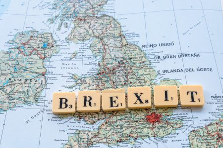Brexit text on map