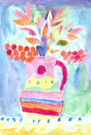 Child's drawing of a colorful flowers