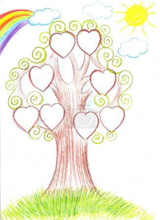 Family tree. Genealogical tree artwork illustration