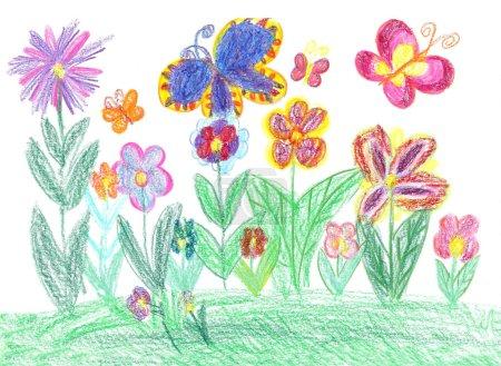 Photo pour Enfant dessin papillon et fleurs - image libre de droit
