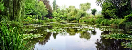 Panorama of Claude Monets gardens