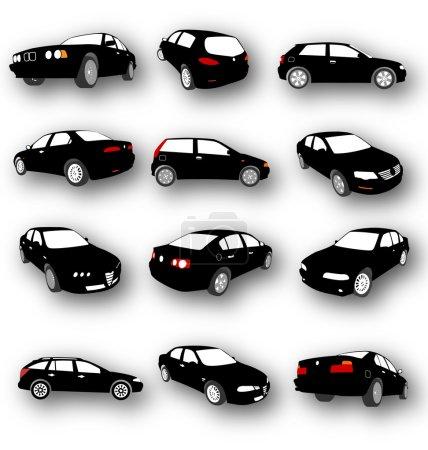 Illustration pour Ensemble de Silhouettes de Voiture Vecteur différents types de petites voitures à la succession - image libre de droit