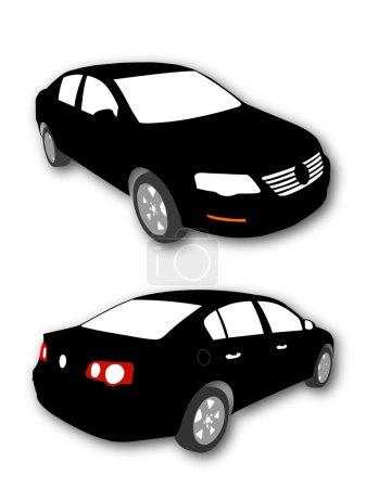 Illustration pour Silhouettes de voiture vecteur noir avec ombre - image libre de droit