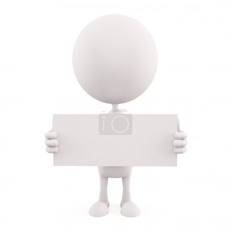 White character with white board