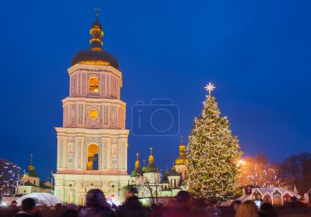 Main christmas tree and sofia church in Kiev, Ukraine