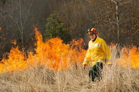 Fire fighters crossing charred terrain