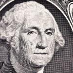 Close up portrait of president Washington on an on...