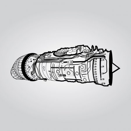 jet engine drawing on white background