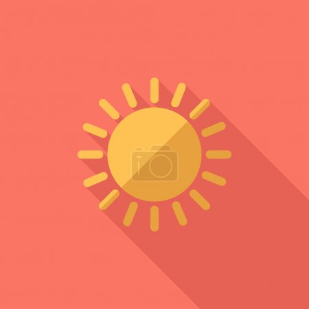 Illustration for Sun icon. Flat design style modern vector illustration. Isolated on stylish color background. Flat long shadow icon. Elements in flat design. - Royalty Free Image