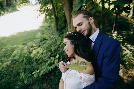 sensual bride and groom at wedding day