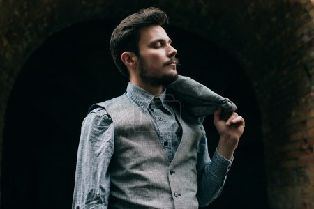 elegant bearded young hipster man