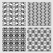 Collection of black and white classical vintage patterns seamless black tile with white geometric line patterns