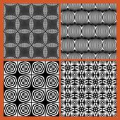 Collection of black and white classical vintage patterns seamless black tile with white geometric repeating ornament