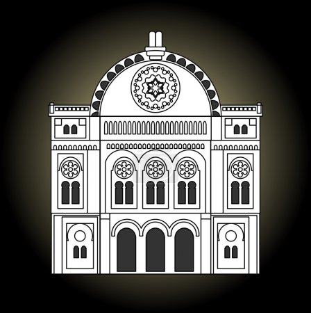 Synagogue, black and white drawing. Facade of the synagogue in the front view. Jew religion building of old synagogue.