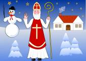 Saint Nicholas walks snowy night landscape, old country house and snowman on background