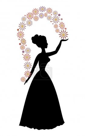 Vintage vector silhouette of a woman throwing flowers, beautiful decorative motif