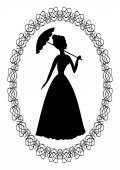 Vintage retro drawing with silhouette of rococo lady with umbrella in fine oval lace frame Decoration for ball invitation
