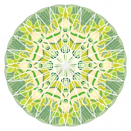 Illustration for Green mandala for energy and power obtaining, mandala for meditation training - Royalty Free Image