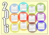 2016 horizontal calendar with rainbow overlapping colorful bubbles each month in a separate circle