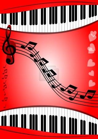 Illustration pour Contexte avec clavier de piano de thème musical, stave, clef d'aigus sur la zone rouge avec le gradient. Convient à un programme de musique ou à l'invitation au Festival de musique - image libre de droit