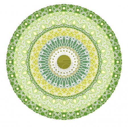 Illustration for Green mandala for energy and power obtaining. Rich patterned mandala for meditation training. Filigree lace patterns on green circle background. - Royalty Free Image