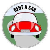 Rent a car emblem with cute cheerful red car on the road