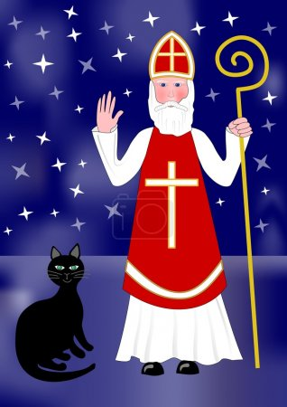 Santa Nicolas and black cat on night background with stars