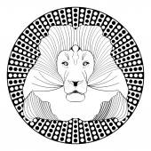 Lion head patterned symmetric animal drawing on circle dotted background Lion king of beasts useful as decoration tattoo template emblem club sign horoscope sign
