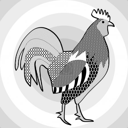 Illustration for Cock, black and white drawing. Hatched picture of majestic rooster on concentric circle patterned gray background. Template for tattoo, restaurant emblem, poultry breeding farm brand, Chinese horoscope - Year of the Rooster - Royalty Free Image