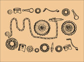 Poster Vintage moto parts