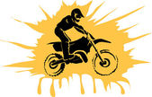 Motocross enduro background Silhouette of a man who rides on a motorbike  Vector illustration