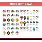 Bolshoay set of Pokemon  Balls and mark on the map